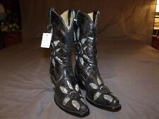Corral Ladies Western Gal Boots Black/Silver Sequins Flower Inlay R1096 Sz. 7.0M