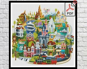 Disney World Map Counted PDF Cross Stitch Pattern Needlework DIY DMC