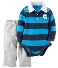 New Baby Boys Carter's Blue Striped Bodysuit Gray Sweatpants Outfit 6 Months