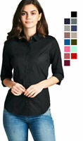 Women's Classic 3/4 Sleeve Stretch Button Down Collar Dress Work Shirt Blouse