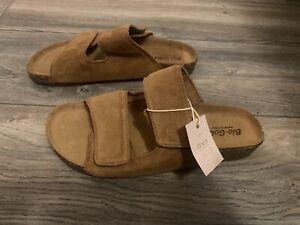 Bio Gold Sandals ITALY size 9.5 Slip On Suede Brown Strap Slip On Sandals New