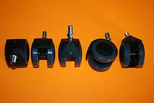 5 Roulettes Pivotantes de Fauteuil de bureau pour Sol Dur Gris/Noir tige filetée