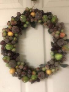 Sugar Frosted Beaded Fruit Apples Pears Cherries & Berries Vintage Wreath