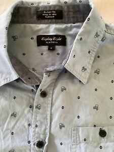 Eighty Eight Platinum Men's Casual Short Sleeve Shirt W/ Skulls Blue Size L