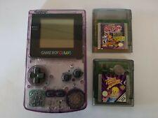 Clear Purple Nintendo Game Boy Color Plus Scooby-Doo & Tweety Games - Colour GBC