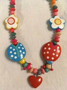 TATIRI Wood Bead Girl Child's Necklace, Ladybugs Hearts Flowers, Red Green Blue