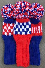 """3 HAND KNIT 8"""" GOLF HEAD COVERS RED WHITE ROYAL BLUE HYBRID IRONS FUN GIFT"""