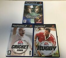 Sony Playstation 2 * Sports 3 Games Bundle * Pro Evo 5  Rugby Cricket 2005 PS2