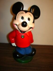 """RARE Vintage 1960's MICKEY MOUSE Plastic Bank  Caplugs Stopper - 11"""" tall"""