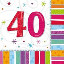 2 Packs of 40th Birthday Paper Napkins Serviettes Tableware Party Celebration