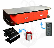 Black Wall Mount Station Red Drawers Stainless Steel Top Studio Tattoo Equipment