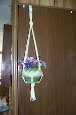 Macrame Basic Plant Hanger IVORY (very pale yellow) 6mm 4 arms Handmade in USA