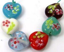 Lampwork Handmade Glass Jasmine Heart Beads (6)
