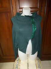 GIOROGA (made in Italy) Cardigan Donna Women's 100% LANA MERINOS EXTRAFINE