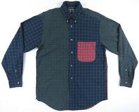 Vintage 90s Nautica Blue Green Red Plaid Sailing Crest Long Sleeve Mens Shirt S