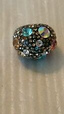 Stainless Steel Crystal Ring Multi Color Crystal Dome Bubble Cocktail Ring Sz 6