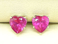 925 STERLING SILVER STUD EARRINGS - HEART 5MM  RED  CREATED STONE