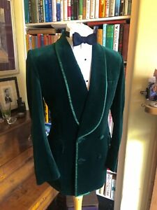 Turnbull & Asser Green Velvet Double Breasted Shawl Lapelled Dinner Jacket