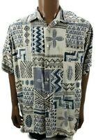 Tori Richard Mens Hawaiian Shirt Samoan Tribal  Leaf Tiki Camp 100% Silk XL
