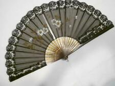 Victorian Vintage Painted Black Silk Chiffon Fan W/Chantilly Lace & Stamped Gold