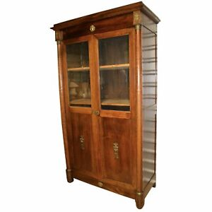 19th Century French Mahogany Empire Armoire | Cabinet |Brass Mounts, Glass Doors