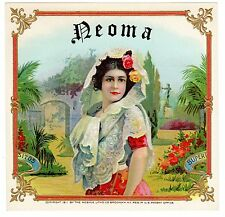 CIGAR BOX LABEL GENUINE MOEHLE LITHO BROOKLYN NY 1911 NEOMA RARE CUBAN GIRL