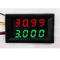 Dual Green LED Digital Panel Voltmeter Ammeter AC3.5-28V 3A Amp Volt Gauge