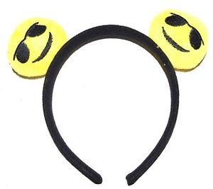 NEW Yellow cool emoji ears aliceband fashion party childrens fancy dress icon