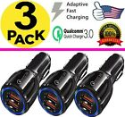 3 Pack 2 USB Port Fast Car Charger Adapter for iPhone Samsung Android LG GPS