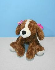 "Gund 12"" Barker #1311 Tan & Cream Spaniel Puppy Dog Plush w/ Purple Plumeria"
