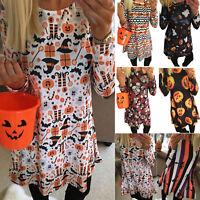 Halloween Women Pumpkin Skull Print Smock Tunic Dress Party Swing Fancy Dress