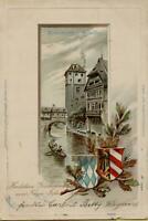 1532: Postkarte Ansichtskarte Neujahr Nürnberg Henkersteg