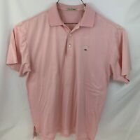 Peter Millar Polo Shirt Size M Pink Golf Golfer Casual Rugby Mens Striped White