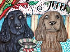 Field Spaniel Coffee Art Print 5x7 Signed by Artist Ksams Vintage Style Dogs