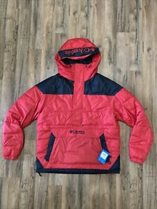Columbia Men's Lodge Pullover Jacket With Hood Size Large New With Tags Red