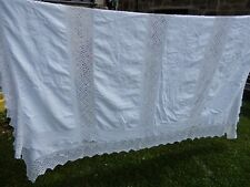 More details for heavy  white irish linen and lace  antique bed spread king size