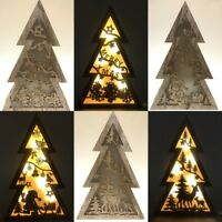 New 28cm Christmas Tree Natural MDF Wooden Light Up 3 Level Xmas TREE Home Décor