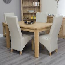 Arden solid oak furniture extending dining table with four cream chairs set
