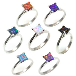 Rings Solitaire 1ct Opal Princess Cut 9ct White Gold Various Colours