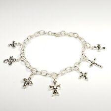 "Cross Charms Bracelet Silver Link Jewelry Handmade NEW Fashion Charm 7.5"""