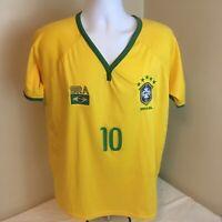 Terceiro Tempo Mens Soccer Futball Jersey Medium Brazil Yellow #10 Free Shipping