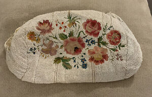 Antique Vintage Victorian Micro Beaded Tapestry Purse Bag For RepairFrance