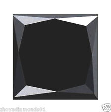3.02 ct NATURAL LOOSE DIAMOND JET BLACK OPAQUE PRINCESS BRILLIANT CUT JEWEL USE