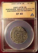1557-1578 Tin Bastardo Portuguese Malacca Dom Sebastiao ANACS EF40!