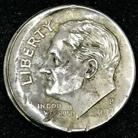 2007-P Rim Error & Off Center Roosevelt Dime US Error Coin.