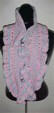Hand Crochet Pink/Blue Circle Infinity Ruffled Scarf/Neckwarmer  #157...NEW