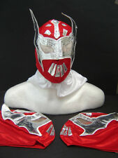 LOT of 3 SIN CARA RED WRESTLING MASK KIDS SIZE NEW STAR roja niños FREE gratis