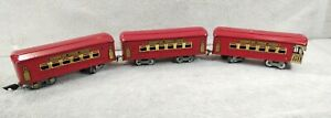 3 American Flyer Railroad Prewar ,2 Passenger Coach Cars, 1 observation car O