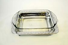 "Mexican Pewter Pyrex Holder w/Glass Pyres, Aztec Pattern-12""L X 10 5/8""W"