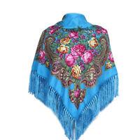 AUTHENTIQUE Foulard Châle à frange Russe en coton Bleu turquoise